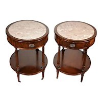 1910s Pair Weiman English Regency Mahogany marble top Side tables /nightstands