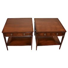 1950s Pair of G.T.Rackstraw English Regency Mahogany Side tables / Nightstands