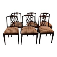1910s English Sheraton medium dark Mahogany inlaid dining room chairs