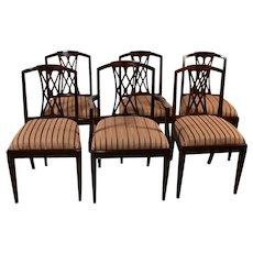 1910s English Sheraton medium dark Mahogany inlaid dining room chairs