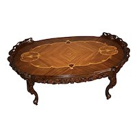 1910s Antique French Louis XV Walnut & Satinwood inlay Coffee table Glass Tray