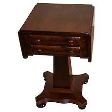 1880s Antique American Empire crotch Mahogany Pembroke drop-leaf work Table