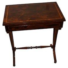1880 Antique English Sheraton Rosewood Satinwood adjustable reading work table