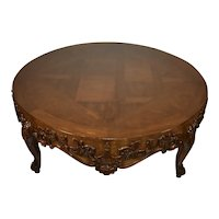 1930s French Louis XV Walnut , grape carved skirt coffee table