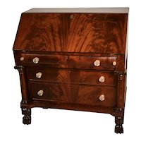 1840s Antique American Empire Crotch Mahogany secretary slant front  desk