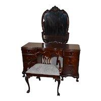1920s Antique Chippendale flame Mahogany ladies desk / vanity , Mirror & stool