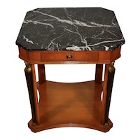 Vintage Meyer Gunther Martini French Empire Style Satinwood & Marble top side table / lamp table