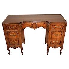1920s Antique French carved Satinwood vanity Desk / Ladies Desk