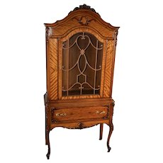 1920s Antique French carved Satinwood China cabinet / display cabinet