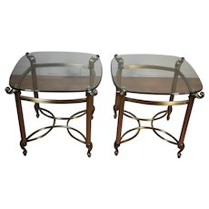 Modern Hollywood Regency Style bronze Metal & glass top side tables / end tables