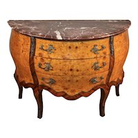1920s Antique French Louis XV Walnut & Burl Maple marble top Commode / Dresser
