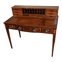 1910s Antique Huffman Boyle English Sheraton Mahogany inlay writing desk