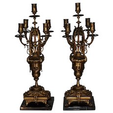 19th century pair of Antique French Empire bronze marble candelabra candleholder