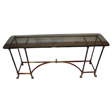 Hollywood Regency Brass and Beveled Glass Console, Sofa Table Hoof Feet