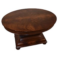 1840s Antique American Empire crotch Mahogany Center table / Parlor table