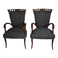 1920 pair of French Mahogany Side Living Room Fireplace Chairs new upholstery