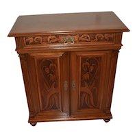 1890s Antique Victorian carved Walnut Cabinet / Credenza with original key
