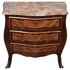 1920 Antique French Louis XV Walnut inlaid Marble top small Commode Nightstand
