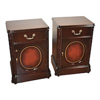 1940s Chinese Chippendale dark Mahogany Leather pair Nightstands bedsides tables