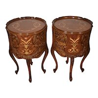 1910s Antique French Louis XV Walnut & Satinwood inlay side tables / End tables