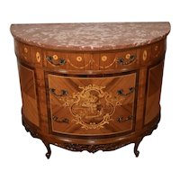 1910s Antique French Louis XV Walnut & Satinwood inlay Commode chest of drawers
