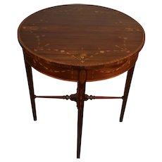 1910s Antique English Sheraton Mahogany Inlaid Center Table