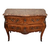 1900 French Louis XV Walnut marquetry inlay marble top chest of drawers dresser