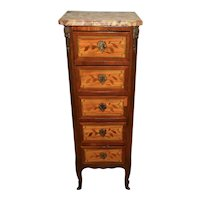 1900s Antique French Louis XV Walnut inlaid & Marble top Lingerie Stand