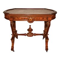 1840s Antique American Victorian walnut & burl walnut marble top parlor center table