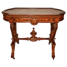1840s Antique American Victorian walnut & burl walnut marble top parlor center table