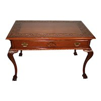 1900s Antique English Chippendale carved Mahogany claw foot Writing desk
