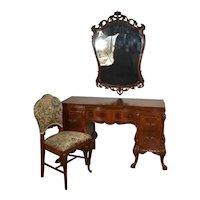 1910 Antique French carved Burl Walnut Vanity ladies Desk , Mirror & Chair SET