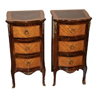 1910s Pair of French Antique Walnut & Satinwood Nightstands bedside tables