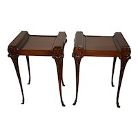 1930s Pair of Vintage French Mahogany Side tables / end tables