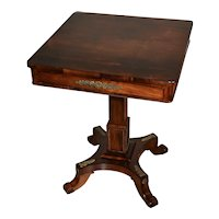 1880s antique English Regency Rosewood side table applied bronze with drawer
