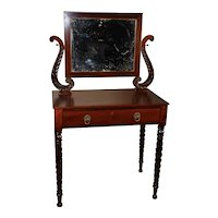 1840s Antique federal empire mahogany vanity desk / ladies desk