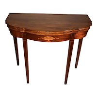 1910 English Sheraton Mahogany inlaid console game table flip top table