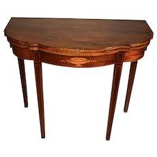 1910 English Sheraton Mahogany inlaid console game table flip top table