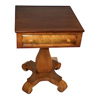 19th century Antique Empire Birdseye maple & mahogany work table / side table