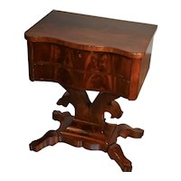 19th century American Empire Crotch Mahogany Work table / side table stand