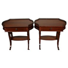 1900s Antique Pair of English Regency Solid Mahogany inlay side end tables
