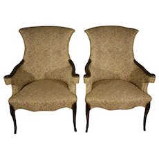 1910s pair of Antique Regency Mahogany living room spring-seat chairs
