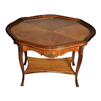 1910s Antique French Satinwood Coffee table with Glass Tray Brass mounts & feet