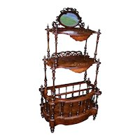 19th century English Victorian carved Burl Walnut inlaid Canterbury stand
