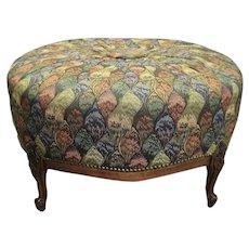 Great French Louis XVI Round Mahogany big Window Bench nice colorful fabric
