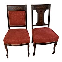 1910s Antique English Edwardian Mahogany Inlaid mother of pearl Pair side chairs