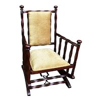 1880s George Hunzinger Twisted Red Mahogany Platform Rocker Rocking Chair