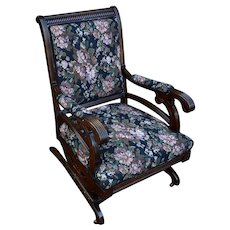 19th Century Antique Victorian Eastlake Mahogany Rocking Chair new upholstery