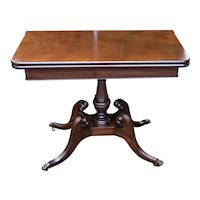 1910 English Regency Solid Mahogany Game Table / Console Table Brass Wheels flip top table
