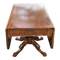 19th Century Antique  American Empire Mahogany Drop Leaf Console / Breakfast Table